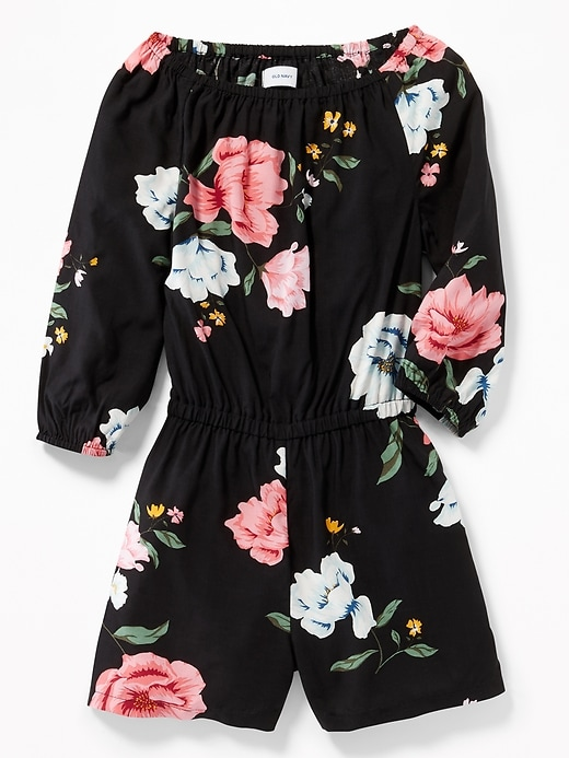 Floral Cinched Waist Romper For Girls by Old Navy