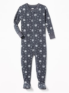 Bear-Print Footed Sleeper for Toddler Boys
