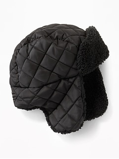Quilted Sherpa-Lined Trapper Hat for Boys