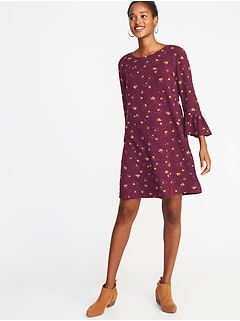 Floral-Print 3/4-Sleeve Shift Dress for Women