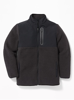 Go-Warm Color-Blocked Sherpa Zip Jacket for Boys