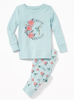 Bird-Graphic Sleep Set for Toddler Girls & Baby