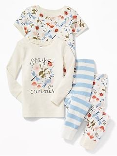 """Stay Curious"" Nature-Graphic 4-Piece Sleep Set for Toddler Girls & Baby"