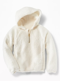 1/4-Zip Sherpa Popover Hoodie for Girls