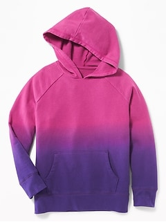 Relaxed Ombré Fleece Pullover Hoodie for Girls