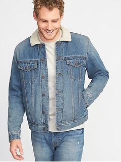 Sherpa-Lined Denim Jacket for Men