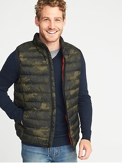 Packable Water-Resistant Quilted Vest for Men