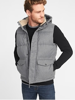 Detachable-Hood Frost-Free Puffer Vest for Men