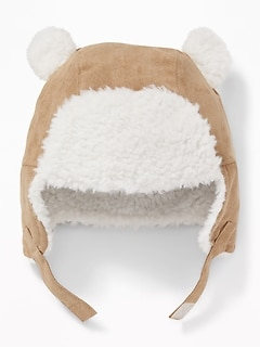 Faux-Suede Sherpa-Trim Trapper Hat for Baby