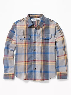 Built-In Flex Plaid Flannel Pocket Shirt for Boys