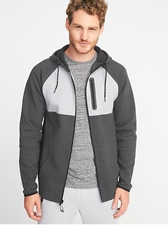 Dynamic Fleece 4-Way-Stretch Color-Block Zip Hoodie for Men