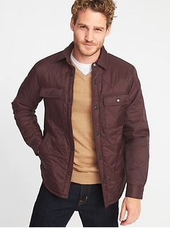 Quilted Water-Resistant Shirt Jacket for Men