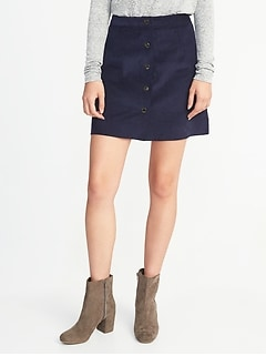 Corduroy Snap-Front A-Line Mini for Women