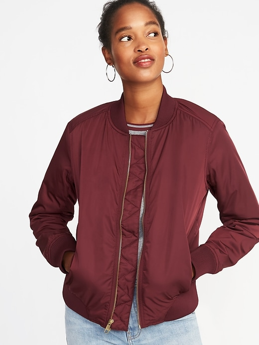 Satin Zip Bomber Jacket For Women by Old Navy