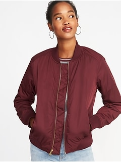 Satin Zip Bomber Jacket for Women