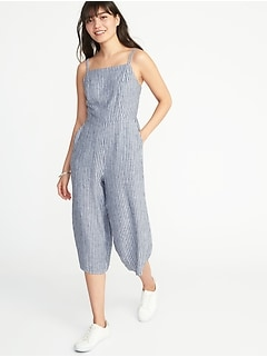 Waist-Defined Linen-Blend Cami Jumpsuit for Women