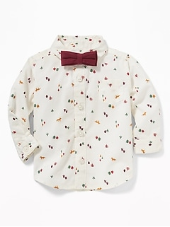 Printed Shirt & Bow-Tie Set for Baby