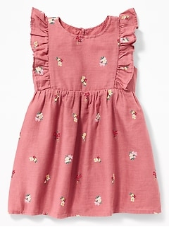 Ruffle-Trim Crepe Dress for Baby