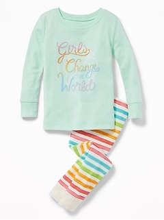 """Girls Change the World"" Sleep Set for Toddler & Baby"