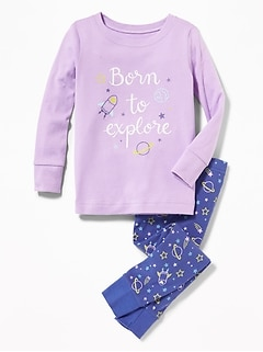 """Born to Explore"" Rocket-Print Sleep Set for Toddler & Baby"