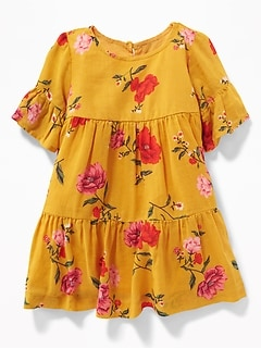 Tiered Floral-Print Crepe Dress for Baby