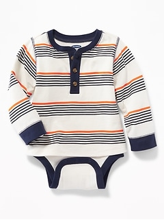 2-in-1 Striped Henley Bodysuit for Baby