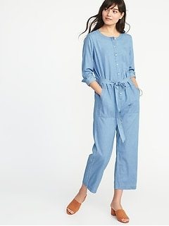 Chambray Tie-Belt Utility Jumpsuit for Women