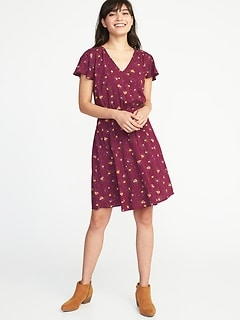 Waist-Defined V-Neck Dress for Women