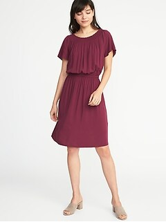Waist-Defined Smocked-Neck Dress for Women