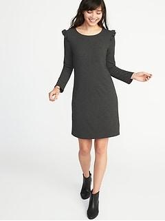 Ruffle-Trim Ponte-Knit Tee Dress for Women