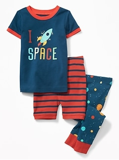 """I (Rocket Heart) Space"" 3-Piece Sleep Set for Toddler & Baby"
