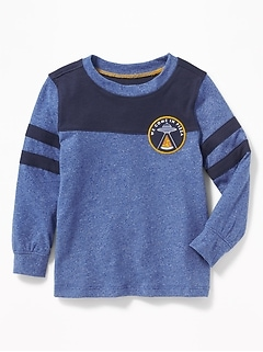Graphic Pieced-Stripe Football Tee for Toddler Boys