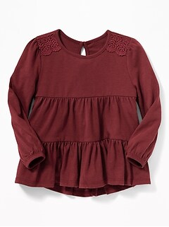 Lace-Trim Tiered Swing Top for Toddler Girls