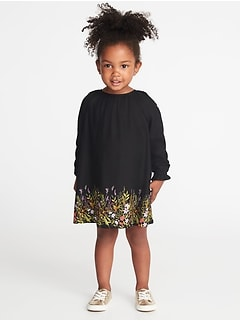 Floral Twill Dress for Toddler Girls