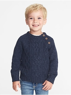 Button-Neck Cable-Knit Sweater for Toddler Boys