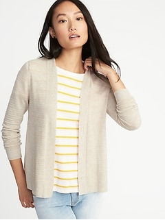 Womens Textured Open-Front Cropped Sweater