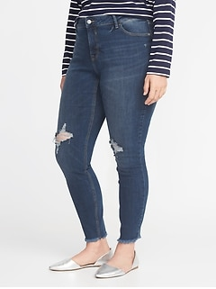 High-Rise Secret-Slim Pockets Plus-Size Raw-Edge Rockstar Jeans