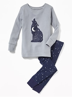 Wolf-Graphic Sleep Set for Toddler Boys & Baby
