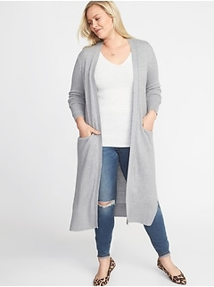 Super-Long Open-Front Plus-Size Duster