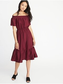 Waist-Defined Smocked-Neck Midi Dress for Women