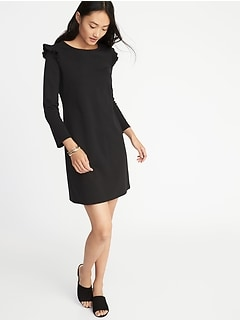 Ruffle-Trim Ponte-Knit Tee Dress for Women