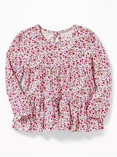 Tiered Floral Top for Toddler Girls