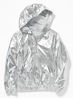Metallic-Nylon 1/4-Zip Hoodie for Girls