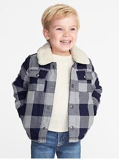 Sherpa-Lined Plaid Shirt Jacket for Toddler Boys