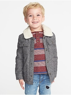 Sherpa-Lined Shirt Jacket for Toddler Boys