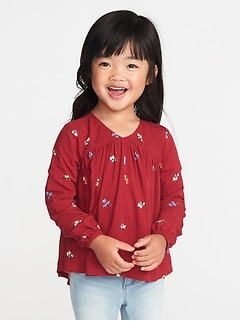 Floral V-Neck Blouse for Toddler Girls