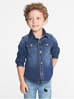24/7 Denim Pocket Shirt for Toddler Boys
