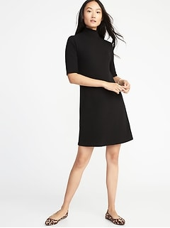 Mock-Neck Rib-Knit Shift Dress for women