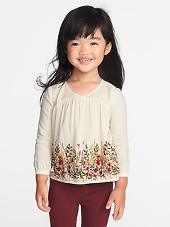 Floral Crepe Blouse for Toddler Girls
