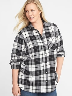 Classic Plaid No-Peek Plus-Size Flannel Shirt